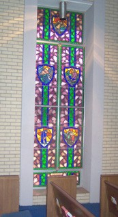 One of the stained glass windows in the sanctuary